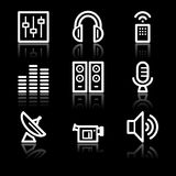 Media white contour web icons Royalty Free Stock Photo