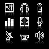 Media white contour web icons. Vector web icons, white contour series Royalty Free Stock Photo