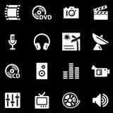 Media white web icons Royalty Free Stock Photos