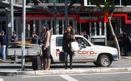 Media women street scene Royalty Free Stock Photography