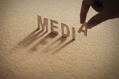 MEDIA wood word on compressed board stock image