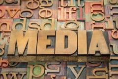 Media woord in houten type Stock Foto