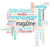 Media word cloud. A media word cloud illustration Stock Photos