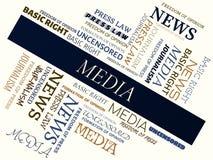 MEDIA - word cloud - MEDIA - word cloud - JOURNALISM - JOURNALISM - word cloud - FREEDOM OF PRESS - FREEDOM OF PRESS - word cloud Stock Photo