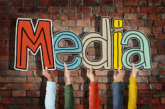 Media Word Concepts and Brick Background Royalty Free Stock Images