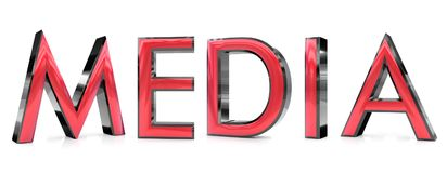 Media 3d word. The media word 3d rendered red and gray metallic color , isolated on white background Stock Image