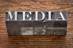 Media word in metal type Stock Image