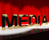 Media Word On Stage Showing Advertising Outlets Or Broadcasting Royalty Free Stock Photo