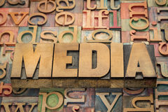 Media word in wood type stock photo