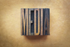 Media. The word MEDIA written in vintage letterpress type Stock Images