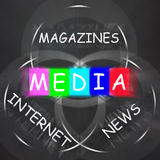 Media Words Displays Magazines Internet and News Royalty Free Stock Photography