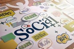 Media y concepto sociales de la red Imágenes de archivo libres de regalías