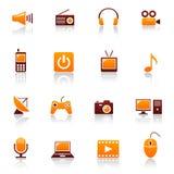 Media y iconos de las telecomunicaciones Fotografía de archivo libre de regalías