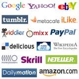 Media y insignias sociales del comercio Imagen de archivo libre de regalías