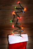 Media y luces de la Navidad Fotografía de archivo libre de regalías
