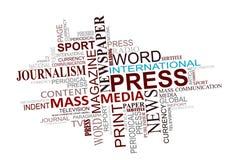 Media y nube de las etiquetas del periodismo Foto de archivo libre de regalías