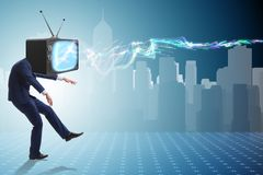 The media zombie concept with man and tv set instead of head. Media zombie concept with man and tv set instead of head Royalty Free Stock Photography