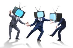 The media zombie concept with man and tv set instead of head. Media zombie concept with man and tv set instead of head Stock Images