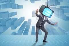 The media zombie concept with man and tv set instead of head. Media zombie concept with man and tv set instead of head Royalty Free Stock Photo