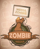 Media zombies with flat screen tv instead of the head. Label Royalty Free Stock Photos