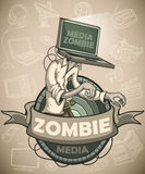 Media zombies with a laptop instead of a head. Label Stock Image