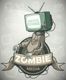 Media zombies with a tv instead of a head. Label Royalty Free Stock Photo