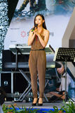 MediaCorp Artiste Rebecca Lim. Performing on stage during the RSAF Open House 2011 Stock Image