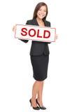 Mediador imobiliário isolado no fundo branco Imagem de Stock