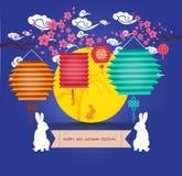 Mediados de Autumn Lantern Festival Familia de la Luna Llena y del conejo Imagen de archivo libre de regalías