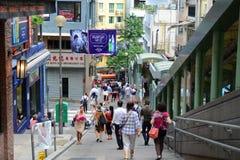 Mediados de-niveles escalera móvil, Hong Kong Island de la central Fotografía de archivo libre de regalías