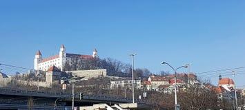 Mediaeval bratislava castle with blue sky. In winter time stock photo
