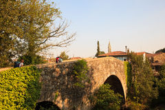 Mediaeval bridge in Furelos. View of the Mediaeval bridge in Furelos, Spain Stock Images