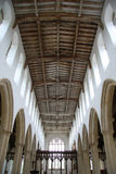 Mediaeval Church Interior. Church interior showing carved beams Stock Photos
