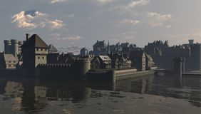 Mediaeval City Water Gate. Walled waterside European town scene during the Middle Ages or Medieval period, 3d digitally rendered illustration Royalty Free Stock Photo