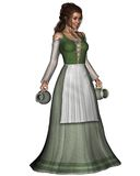 Mediaeval or Fantasy Tavern Wench. Digital render of a Mediaeval or Fantasy tavern serving girl carrying a pewter jug and tankard Royalty Free Stock Image