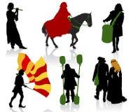 mediaeval folk royaltyfri illustrationer