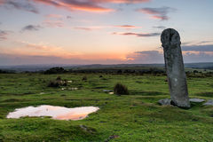 Mediaeval Granite Cross. Long Tom or The Longstone - an ancient granite cross near the Minions on Bodmin Moor in Cornwall Stock Images