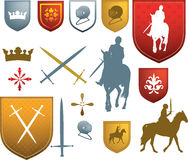 Mediaeval icons and emblems. Shields, swords, horses and other styles of tudor or elizabethan style old designs Royalty Free Stock Photo