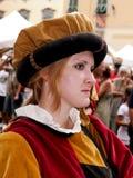 mediaeval italienare för handelsresandefestivalflicka Royaltyfri Foto