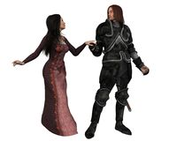 Mediaeval Knight and his Lady - isolated version. Digital render of an armoured knight and lady in Mediaeval dress, holding hands Royalty Free Stock Photo