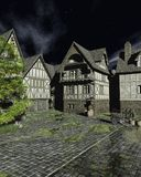 Mediaeval Street on a Bright Moonlit Night royalty free stock photos