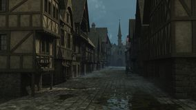 Mediaeval Street Scene - 1. Street Scene set in a European town during the Middle Ages or Medieval period, 3d digitally rendered illustration vector illustration