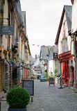 Mediaeval Street, Vitré, Brittany. VITRE, FRANCE. August 28th 2017. The charming mediaeval streets of Vitré pull increasing numbers of tourists into the Breton Royalty Free Stock Images