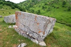 Mediaeval tombstones located in Lukomir village on Bjelasnica mountain, Bosnia and Herzegovina.  Stock Image