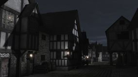 Mediaeval Town Street at Night. Street Scene at night set in a European town during the Middle Ages or Medieval period with half-timbered houses and market hall vector illustration