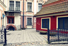 Mediaeval yard in Riga, Latvia. The image was taken in medieval part of old Riga City, Latvia Royalty Free Stock Photos