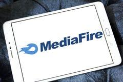 MediaFire file hosting website logo. Logo of MediaFire on samsung tablet. MediaFire is a file hosting, file synchronization, and cloud storage service royalty free stock images