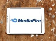 MediaFire file hosting website logo. Logo of MediaFire on samsung tablet. MediaFire is a file hosting, file synchronization, and cloud storage service royalty free stock photos