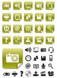 Mediaikonen auf grünen Aufklebern Stockbild