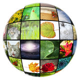 Medial gallery. 3D spherical colorful media gallery isolated vector illustration